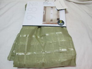 "Lichtenberg No 918 ROSS-PLAID Rod Pocket Sheer Panels Two 54""x84"" Sage Green NEW"
