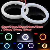 Pair 60-120mm COB LED Headlight Rings Halo Angel Eyes Fog Light Daytime Running