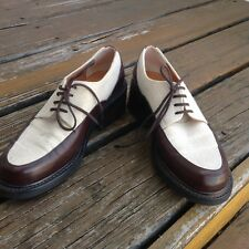 ROBERT CLERGERIE Barneys Brown Leather Linen Lace Up Oxfords Sz 6 Womens Shoes