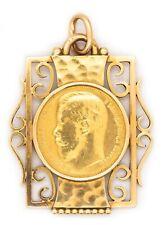 JEAN DESPRES 1935 PARIS 18 KARATS GOLD PENDANT WITH RUSSIAN 15 ROUBLES GOLD COIN