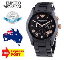 Emporio Armani Mens Black/ Rose Gold Ceramica Wristwatch AR1410