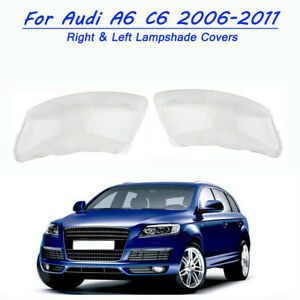 Front Clear Headlight Lens Right &Left Lampshade Cover For Audi A6 C6 2006-2011