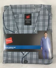 Hanes Men's Woven Pajama Set Long Sleeve Sleepwear 20792 Gray Plaid Size M