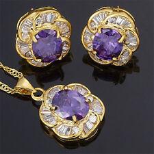 Purple Amethyst Flower Oval Cut Necklace Pendant Earrings(Y)
