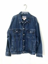 Vintage Men's XL Medium Wash Blue Denim Jean Jacket l Rugged Outdoor Sportswear