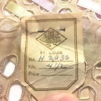"""Vtg St. Louis Embroidered Lace w ORIG. TAG 164"""" Trim Edging Fabric Textile Lot"""