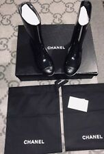 NEW IN BOX 100% AUTHENTIC CHANEL BLACK SHORT BOOTS SIZE 6 37 PATENT CC LOGO