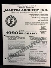 Martin Archery 1990 DISTRIBUTOR CONFIDENTIAL Price List (12 pages) Compound Bows