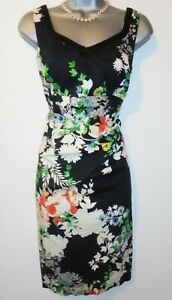 Stunning Wallis Floral Print Ruched Stretch Evening Occasion Day Dress Size 12