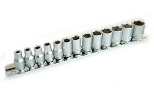 """13pc 1/4"""" Socket Set on Rail for Ratchet Drivers Torque Wrench Nut Bolt Screw"""