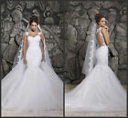 White/Ivory Lace Mermaid Bridal Gown Wedding Dress Custom Size 4 6 8 10 12 14 16