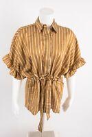Zara Women's Blouse Shirt XS Striped Bow Ties Tunic Mustard Gold 4437/261 NWT