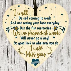 Colleague Leaving Job Gifts Co-Worker Wooden Heart Plaque Friends Keepsake Sign