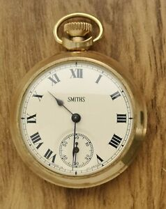 Vintage SMITHS GOLD PLATED POCKET WATCH Working.