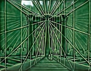 DELONG 2011 LARGE STUDIO ART POTTERY BROOKLYN BRIDGE PORTRAIT HANGING WALL TILE