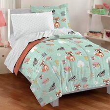 Animals Twin Comforter 5pc Set Kids Green Bed Spread Sheet Pillow Case Fox Owl