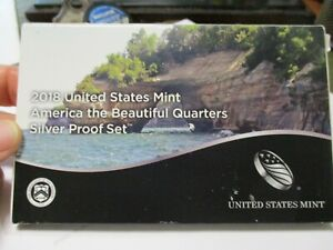 2018 United States Mint America the Beautiful Quarters Silver Proof Set BOXED