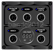 5 Way Toggle Switch Panel With DIGITAL BATTERY VOLTMETER For RVs/Boat/Caravan