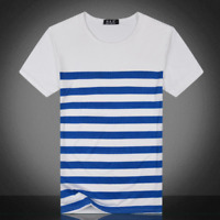 Fashion Mens Strip T-Shirt Summer Short Sleeve Tee Casual Shirts Tops Blouse
