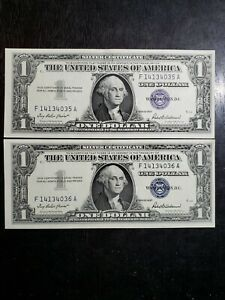Pair of $1 CU consecutive number Series of 1957 $1 Silver Certificates