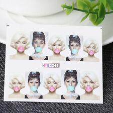 5 Sheet Audrey Hepburn Design Nail Art Tips Water Transfer Manicure Sticker