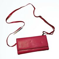 Levenger Pink Leather Cross Body Clutch Purse