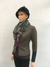 H&M jacket olive green fitted size 6 black faux leather cuffs lined v good con