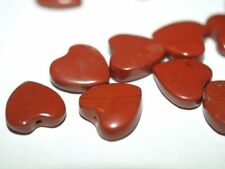 PAIR of Vintage NOS Carved RED JASPER HEART HEARTS 12mm Perfect for VALENTINE'S!