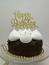 HAPPY BIRTHDAY GOLD CAKE PICK TOPPER DECORATION GOLD  GLITTER  CALLIGRAPHY