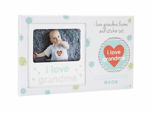 I Love Grandma Baby Belly Sticker and Sentiment Keepsake Photo Frame Gift Set