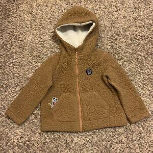 Uniqlo Disney Mickey Mouse Brown Sherpa Fleece Zip Up Hoodie Size 3-4