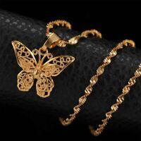 Fashion Butterfly Pendant Necklace Choker Water Wave Chain Women Jewelry Gift