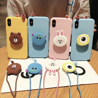 For iPhone 11 Pro XS Max 7 8 Cute Bear Rabbit strap stand Holder soft phone case