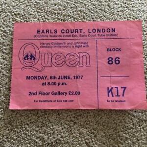 Queen ticket Earls Court 06/06/77 #K17