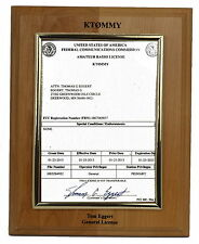 Ham Amateur Radio License Plaque call letters, FCC logo,name & license