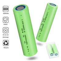 2 Pcs 3.7V 18650 INR 2600mAh Li-ion Rechargeable Battery For Flashlight Torch