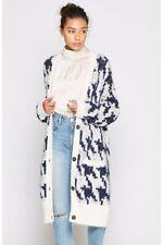 NWT $398 JOIE 'Nitanya' Wool Blend Cardigan, Porcelain / Midnight, L, ADORABLBE!