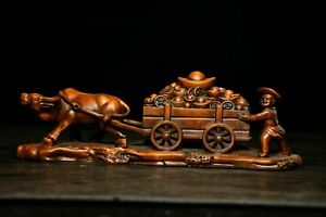 9.2'' China Antique wood Statue natural Old Boxwood animal cattle Statue