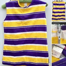 Vintage Sleeveless Top Bold Stripes Purple Yellow White Talon Zipper 50s 60s Mod