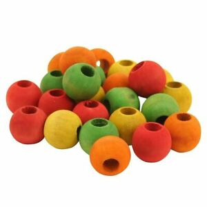 Parrot Toy Making Parts Colourful Wooden Beads 2.4cm - Pack of 24