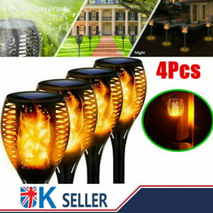 4PACK LED Solar Flame Torch Garden Lights Outdoor Flickering Path Security Lamp