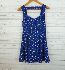 Forever 21 Polka Dot Blue Fit & Flare Skater Dress Sleeveless Size S B2