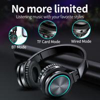 Wireless Bluetooth Headphone Strong Bass Headset Over Ear Earphone Mic LED Light