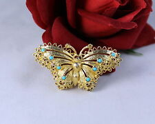 Vintage Gold tone & TEal Butterfly Ornate  Pin  Brooch FERAL CAT RESCUE