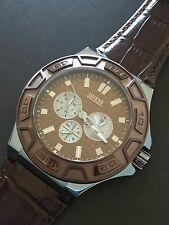 Guess Men's U0674G5 Brown Leather Black Dial Blue Chronograph Watch NWT 100m