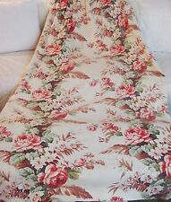 Vintage BARKCLOTH DRAPE PANEL CURTAIN PINK ROSEs FABRIC 81 x 43 Pillows  Crafts