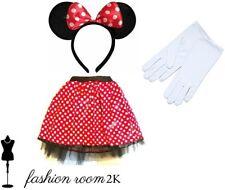 Fancy dress minnie mouse disney girls kids headband ears & tutu skirt & gloves