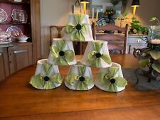 "Lamp Shades Chandelier Linen Fabric Lined White 4"" 6 Clip on Hand Decorated"