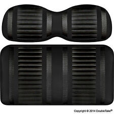 Golf Cart Seats-Front Cushions-EZGO TXT Custom-Extreme Striped-Black & Carbon