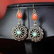 earrings Pear Drop Round Green Coral Original Marriage Gift DD 1